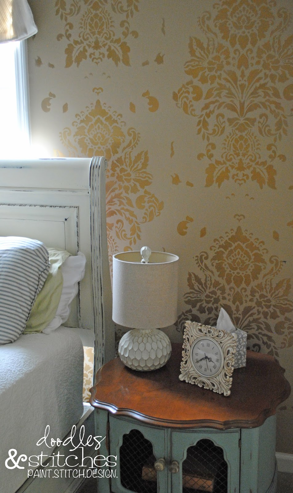 Doodles stitches rub n buff gold stencil it is a cute room but makes wall decor difficult i wanted to do something to accent the room the walls were already painted this neutral taupe ish color amipublicfo Choice Image