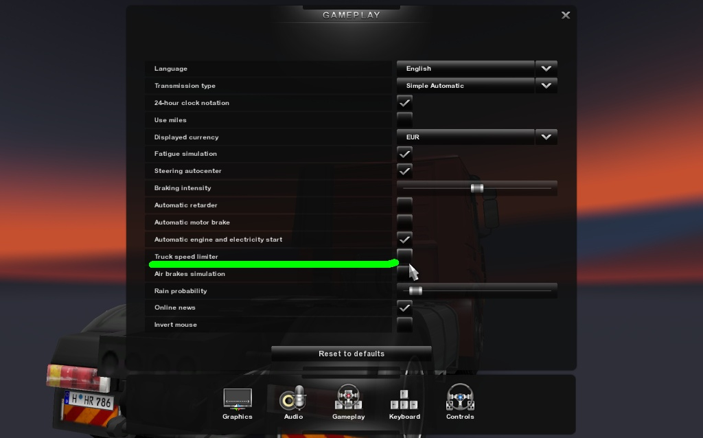 disable speed limiter from gameplay settings