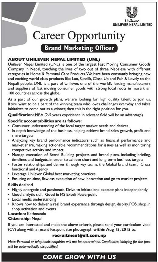 Vacancy Notice Unilever Nepal Limited Unl