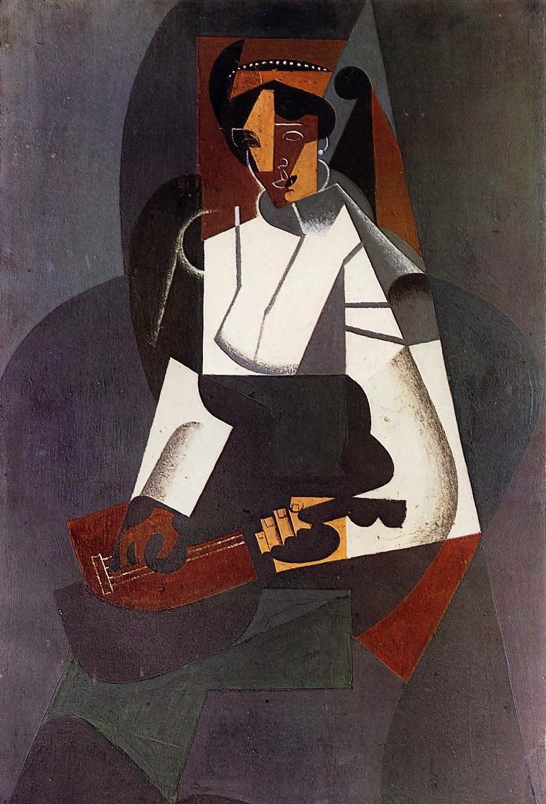 Femme à la mandoline, d'après Corot (Juan Gris, 1916)