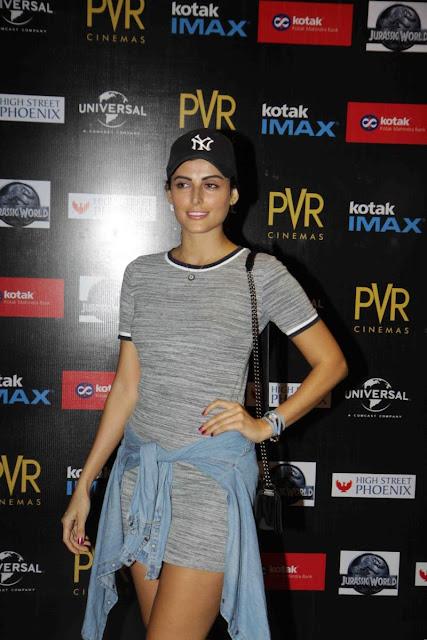 "Mandana Karimi Displays Her Sexy Long Legs At ""Jurassic World"" Premiere At PVR Cinema, Mumbai"