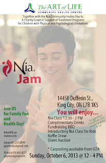 Nia Jam fundraiser The Art of Life Community Health Centre October 6, 2013 at 14450 Dufferin St. King City, Ontario, poster