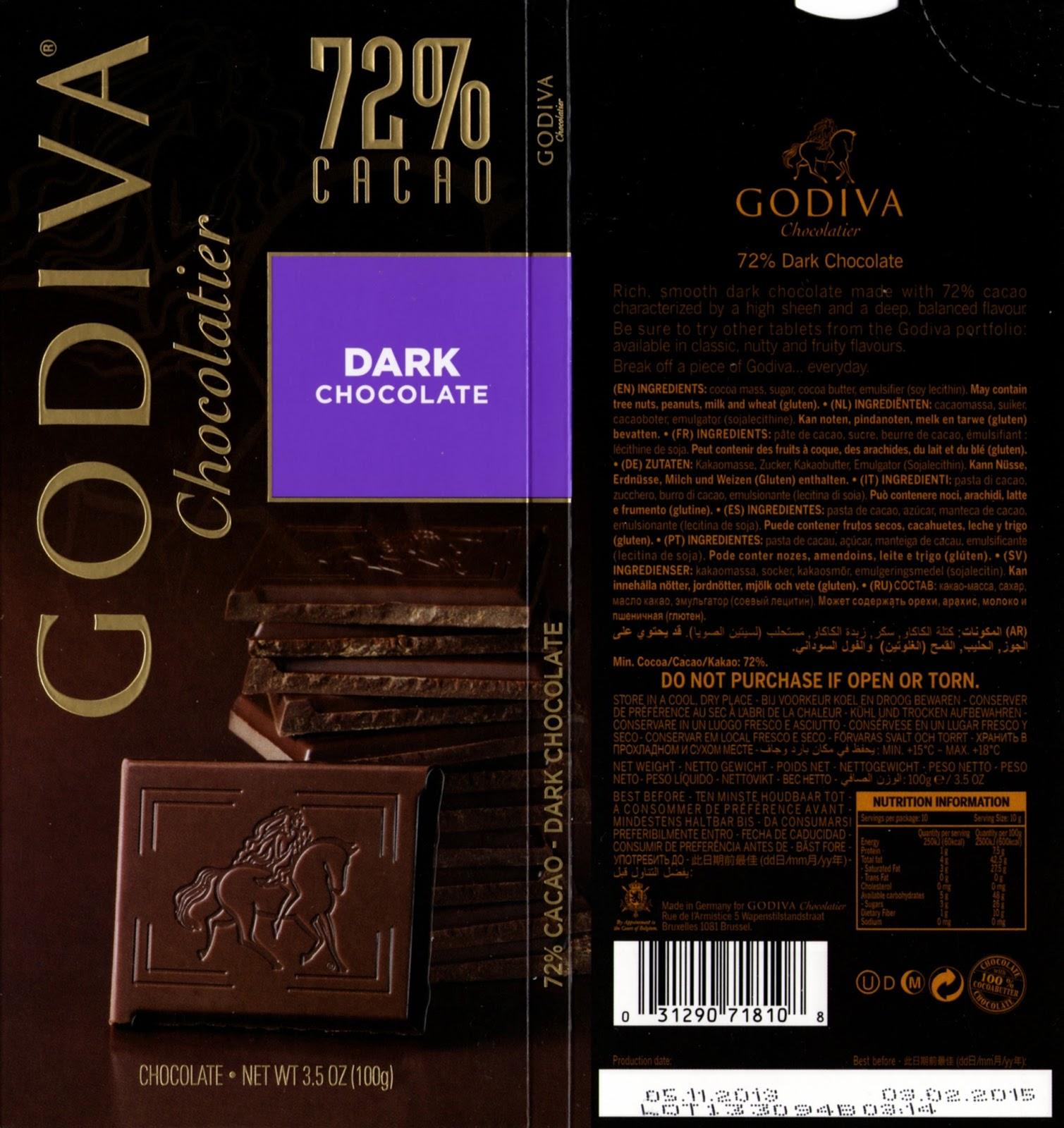 tablette de chocolat noir dégustation godiva noir 72