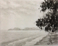 charcoal painting of a seascape from Langkawi by Manju Panchal