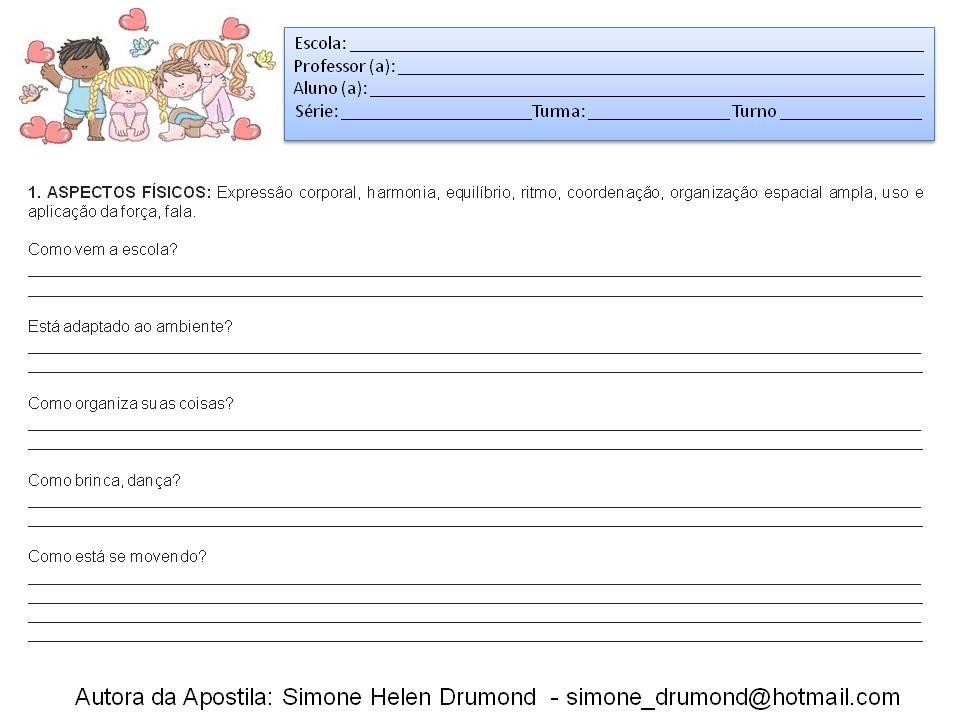 Extremamente Simone Helen Drumond : PARECER DESCRITIVO ENSINO FUNDAMENTAL HQ41