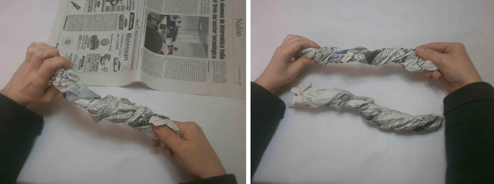 se juntan los dos trozos de peridico con la cinta de pintor tambin pegamos el otro extremo del papel para hacer un crculo