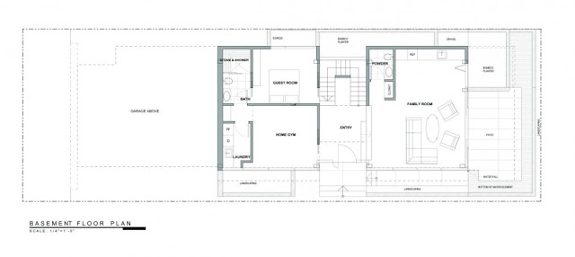 Basement floor plan of the Modern Contemporary Ettley House