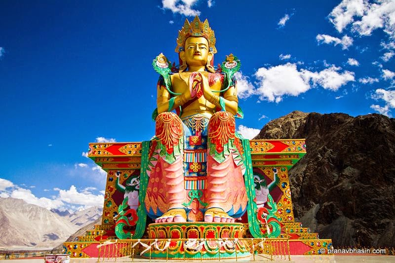35 meter statue of Maitreya Buddha facing down the Shyok River towards Pakistan.