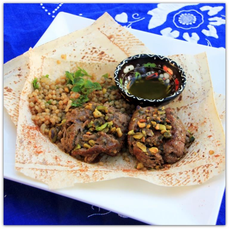 Lamb Kofta with Pistachio Crust, Israeli Couscous and Mint Oil