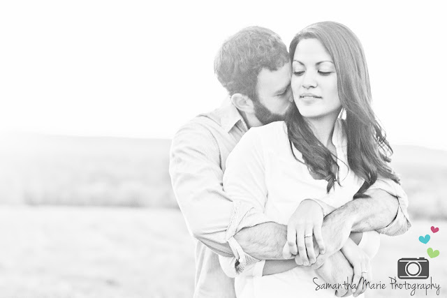 black and white of couple embracing