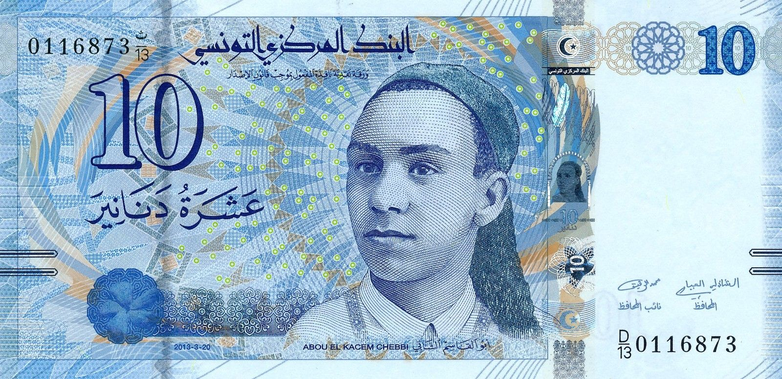 Tunisia 10 Dinars Banknote 2013 Aboul Qacem Echebbi World
