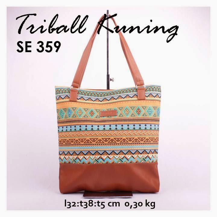 jual online tas handbag kanvas murah combi sintetis motif triball