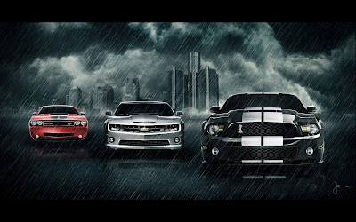Muscle Classic Cars In Rain Desktop Wallpapers And Background