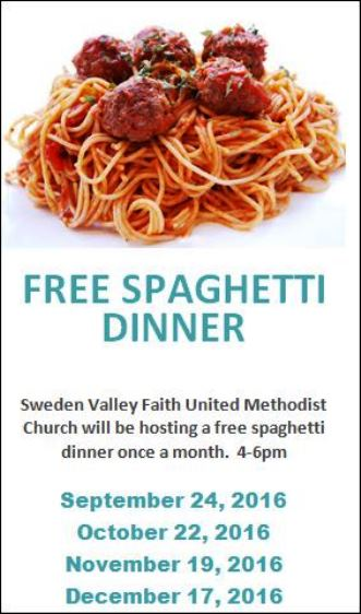 9-24/10-22/11-19/12-17 Free Spaghetti Dinners