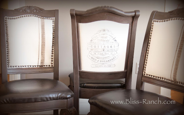 Dining Room Chairs With Vintage Grain Sack Look, Bliss-Ranch.com