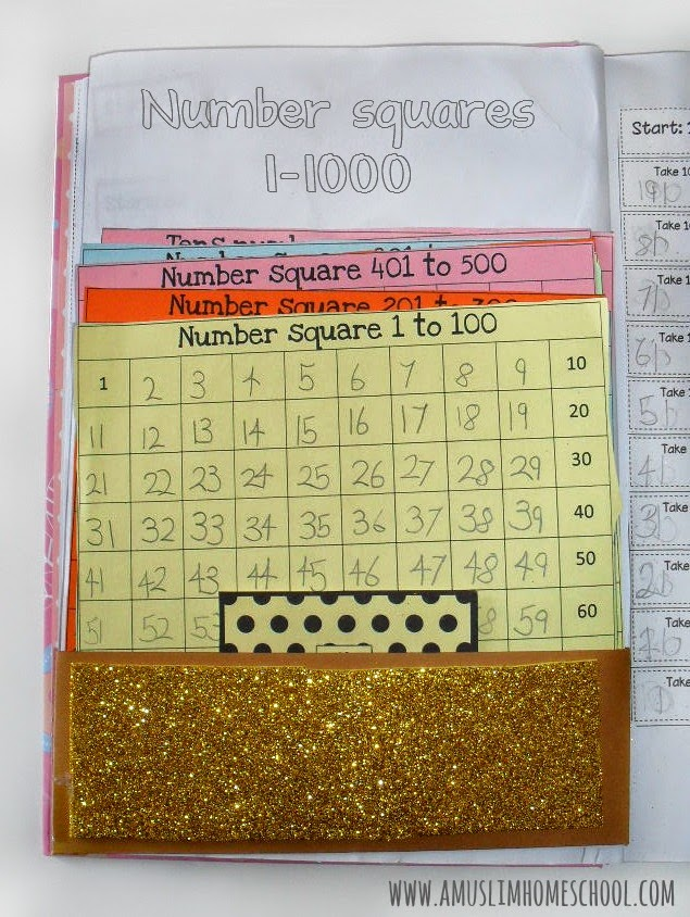 mumber squares 1 - 1000 interactive maths note book