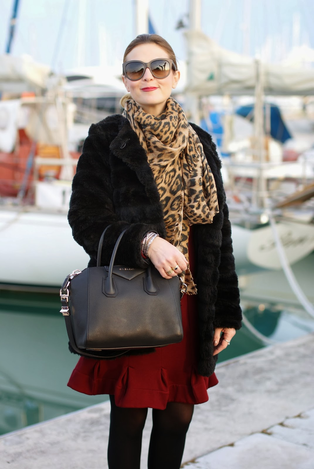 Black faux fur coat, Carven burgundy dress, leopard scarf, Givenchy Antigona bag, Fashion and Cookies, fashion blogger