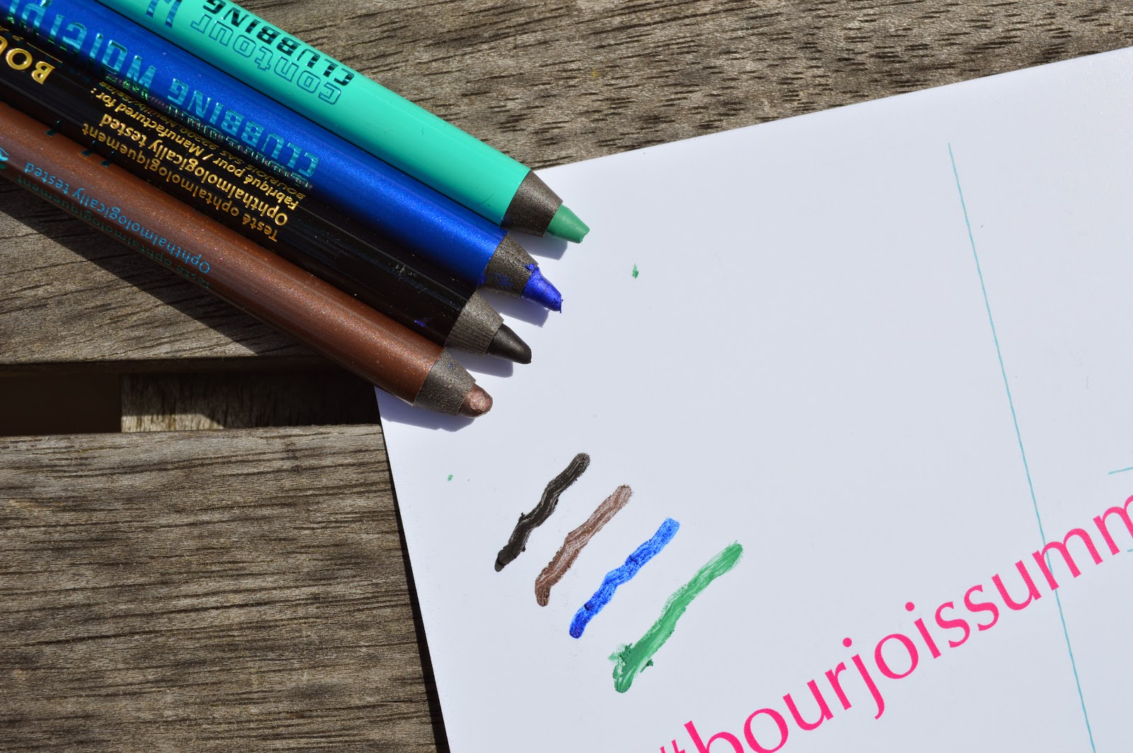 Bourjois Contour Clubbing Waterproof eyeliners  54 Ultra Black, 57 Up and Brown, 46 Bleu Neon, 59 Dynamint