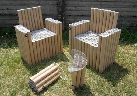 ideas para reciclar tubos de tela muebles y accesorios reciclados with muebles reciclaje