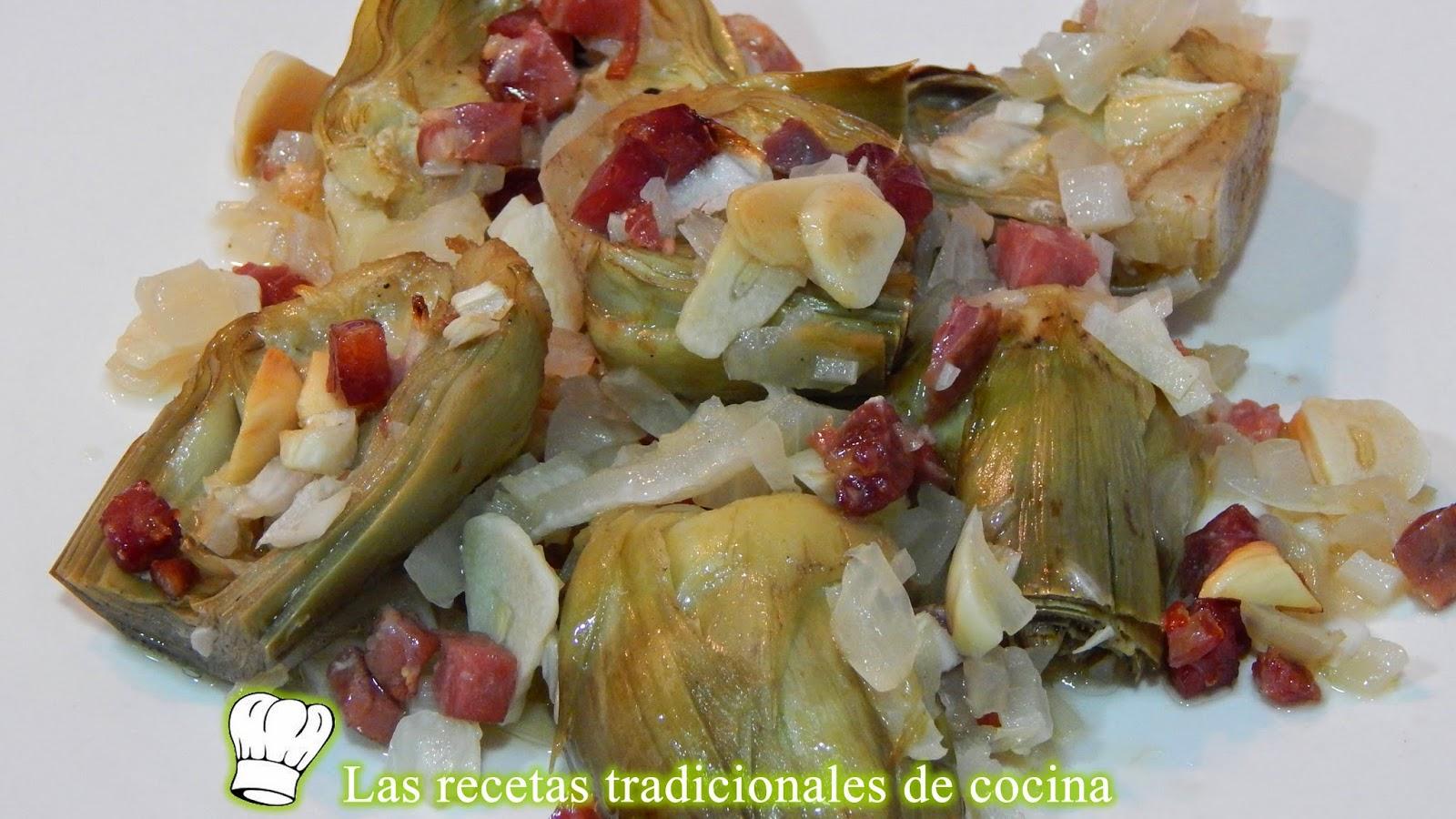 alcachofas al horno con jamón