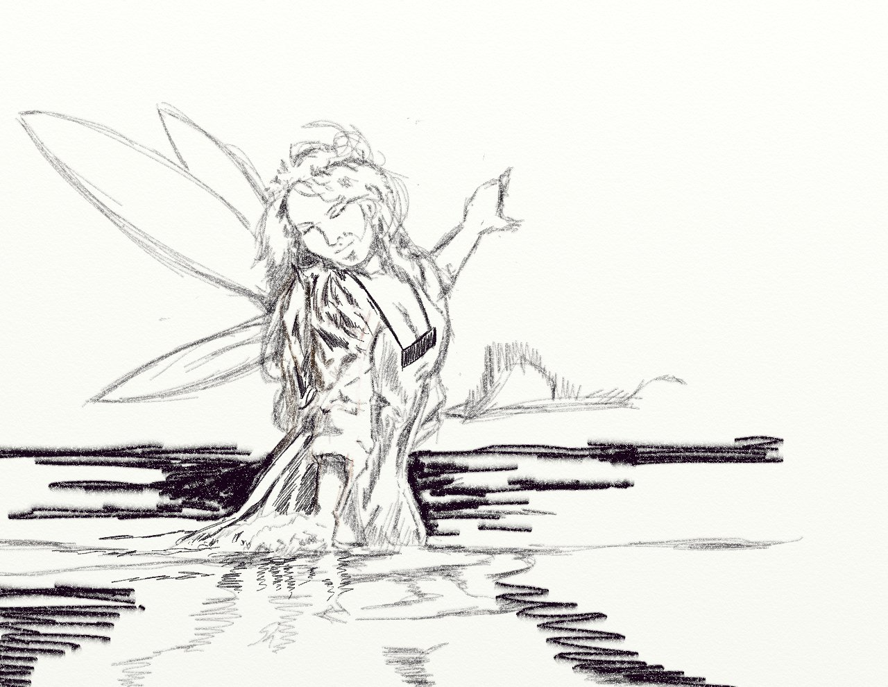 The gallery for water sketch for Water fairy coloring pages