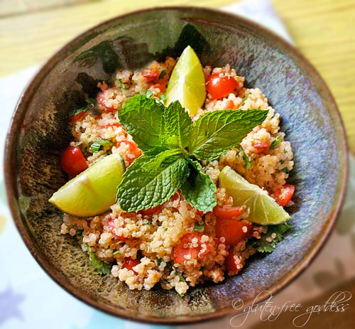 Gluten-free quinoa salad with fresh lime and mint.