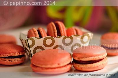 Macarons de frambuesa y rosa (o fresa)