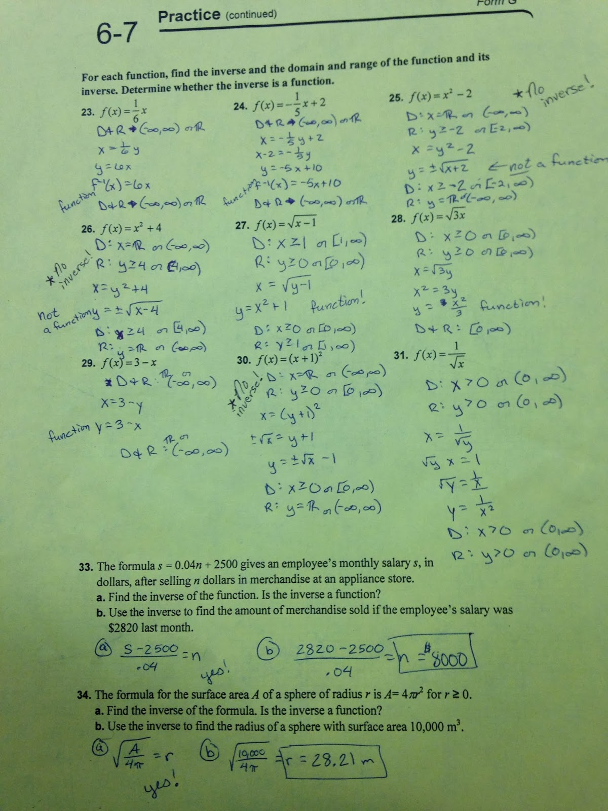 3 3 practice worksheet inverse functions and relations
