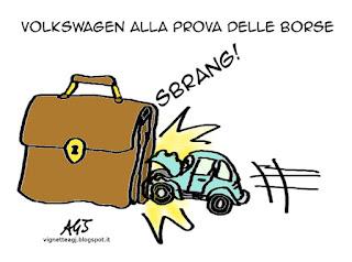 volkswagen, dieselgate, borsa, economia, vignetta satira