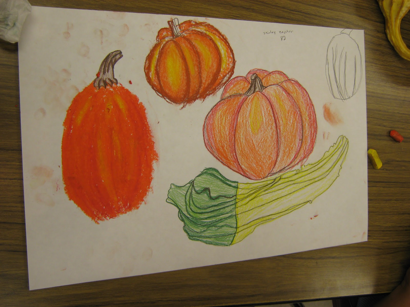 Contour Line Drawing Pumpkin : Art in the middle school pumpkins everywhere
