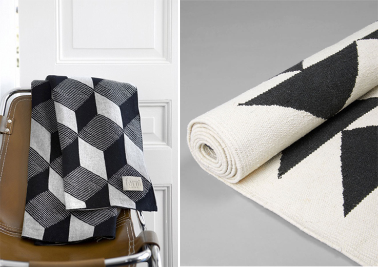 geometric black and white blanket and rug