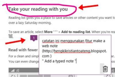 Fitur make a web note dari Microsoft Edge