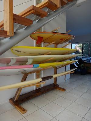 horizontal surfboard rack, wood