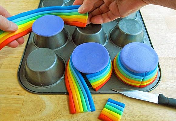 Receta Cupcake base arco iris