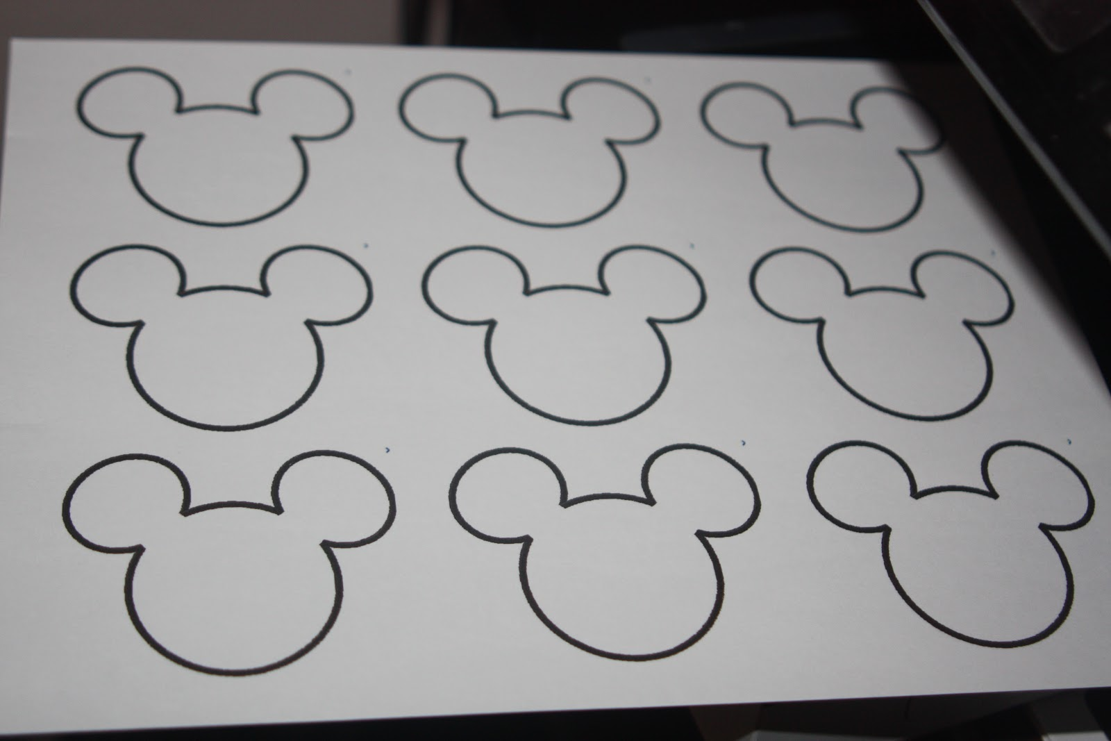 Printed out an outline of mickey onto a label sheet with an adhesive