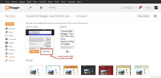 Halaman Edit Template Blogger