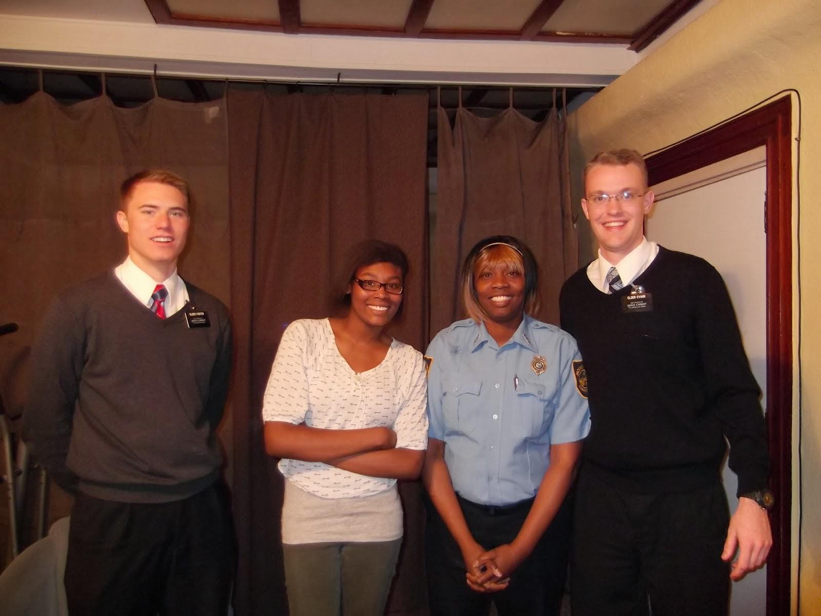Elder Foster, Ariel, Theresa, Elder Evans