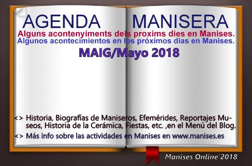 AGENDA MANISERA, MAIG/MAYO 2018