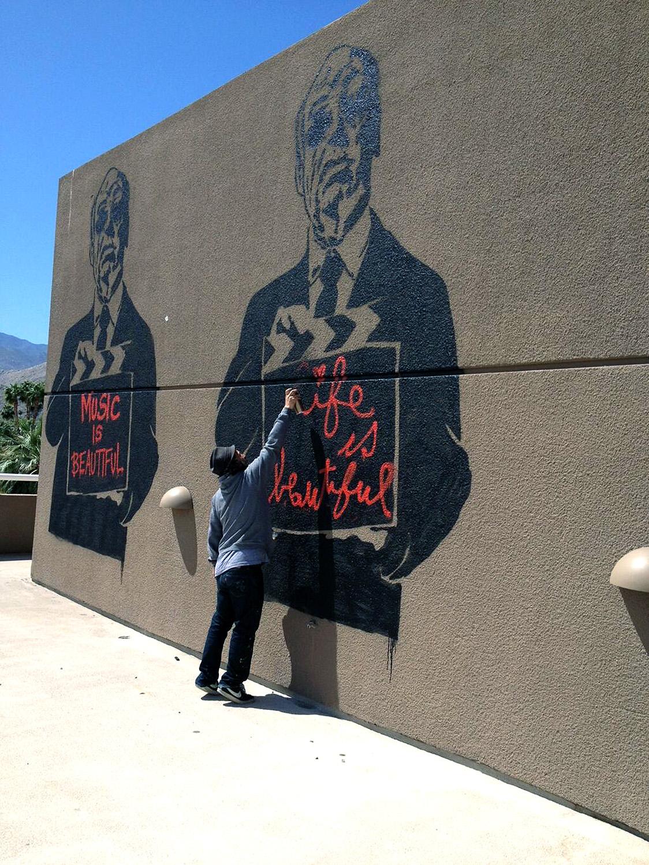 Mr brainwash new murals in palm springs usa for Mural by mr brainwash