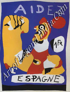 "The Great Artist Joan Miro Painting ""Help Spain"" 1937 from Cahier d'Art, Vol. 12 no. 4-5 Stencil, printed in colour, Composition 9 ¾ x 7 5/8. Collection, The Museum of Modern Art, New York. Gift of Pierre Matisse"