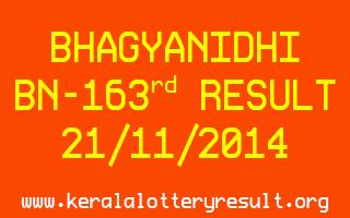 BHAGYANIDHI Lottery BN-163 Result 21-11-2014