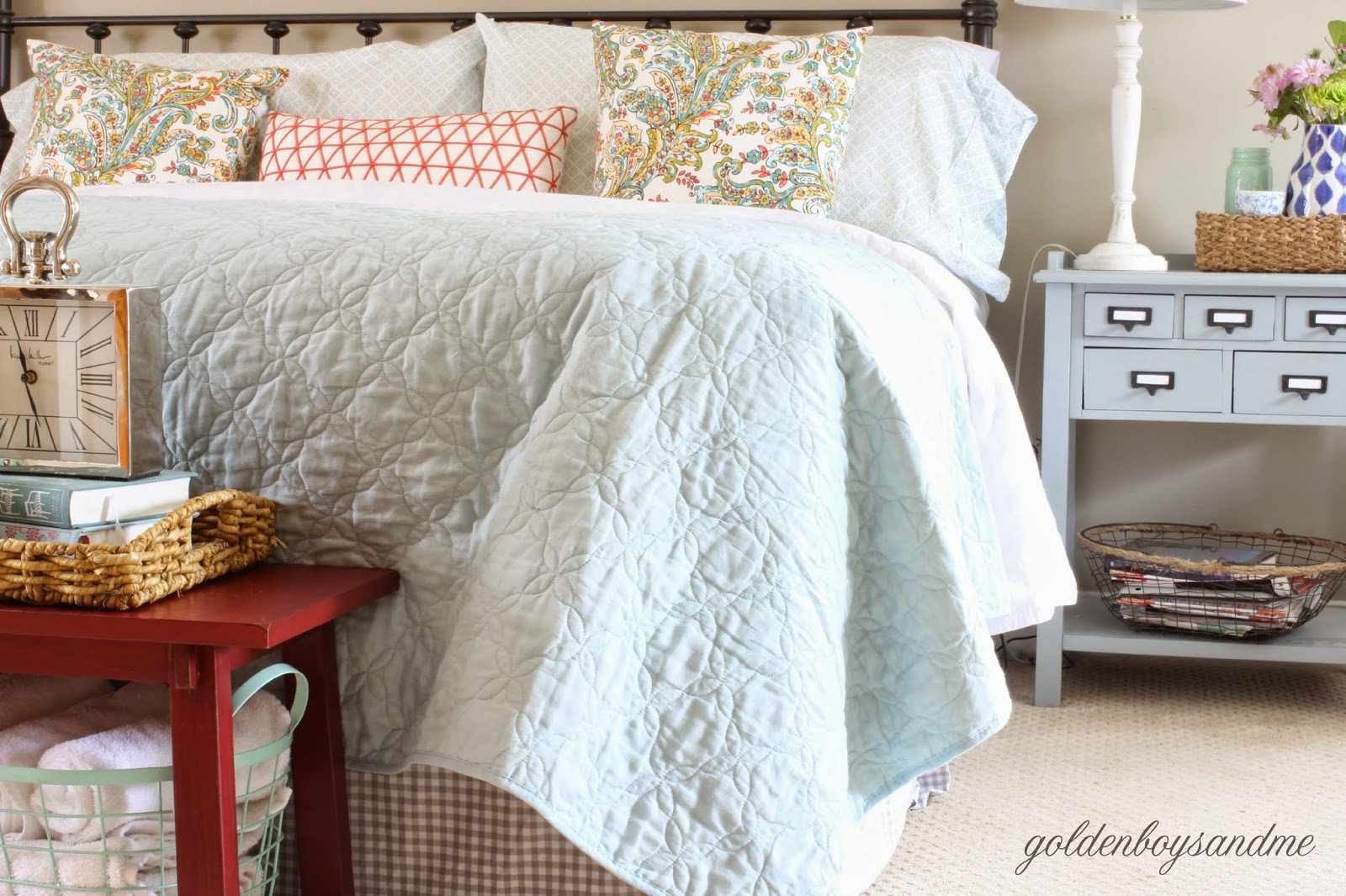 Spring master bedroom with mint and coral bedding-www.goldenboysandme.com