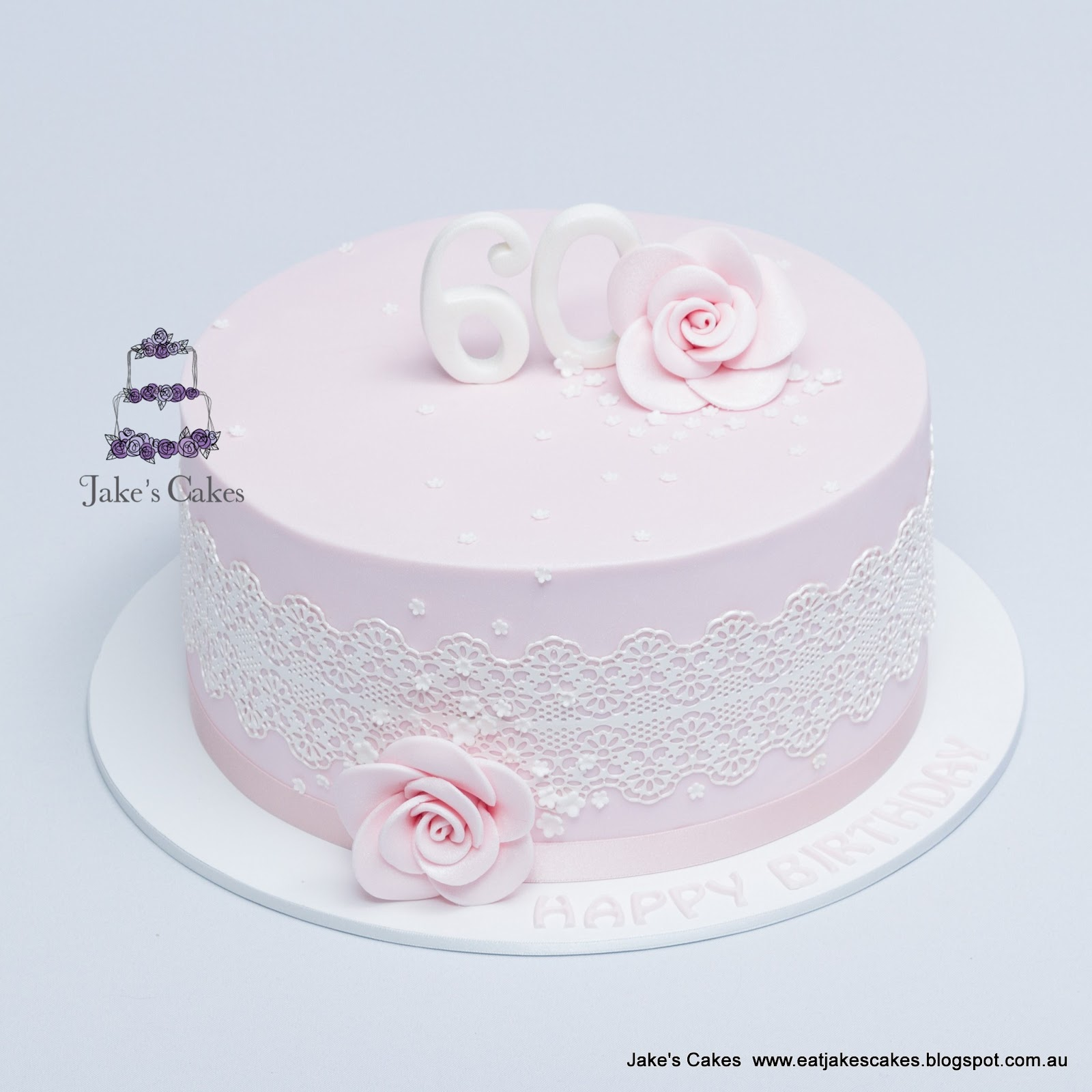 Lace And Flowers Pink 60th Birthday Cake