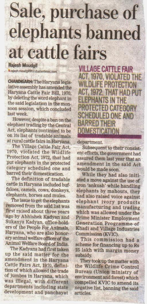 VICTORY: Elephant trading ban in Haryana