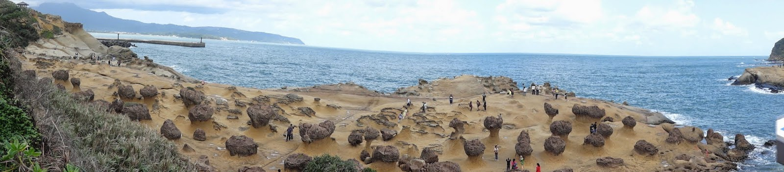 A panoramic view of Mushroom Rocks at Yeh Liu Geopark at Wanli of New Taipei City of Taiwan