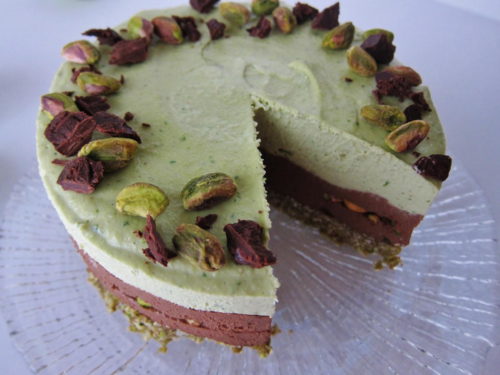 Raw Lime Dark Chocolate Pistachio Cheesecake