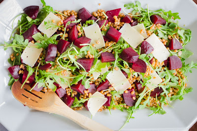 Arugula Salad with Beets, Barley and Parmesan