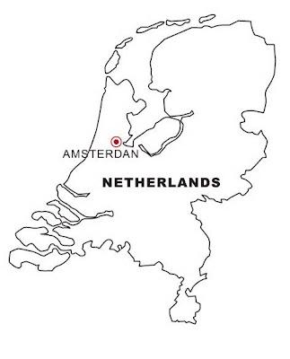 Mapa de Países Bajos para colorear ~ 4 Dibujo