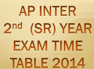 AP Intermediate 2ndYear / Sr.Inter Examination Time Table March 2014 at www.bieap.gov.in