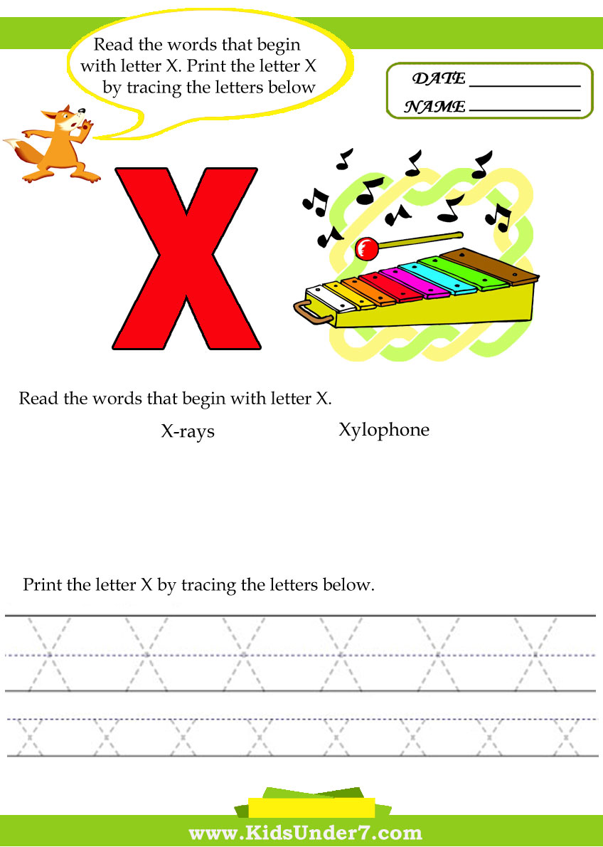 Kids Under 7: Alphabet worksheets.Trace and Print Letter X